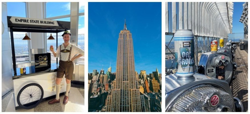 Carrito del 90.°aniversario del Empire State Building (izquierda); Empire State Building (centro); cervezas selectas de Bronx Brewery en el Mirador de la Planta86 (derecha) (PRNewsfoto/Empire State Realty Trust, Inc.)